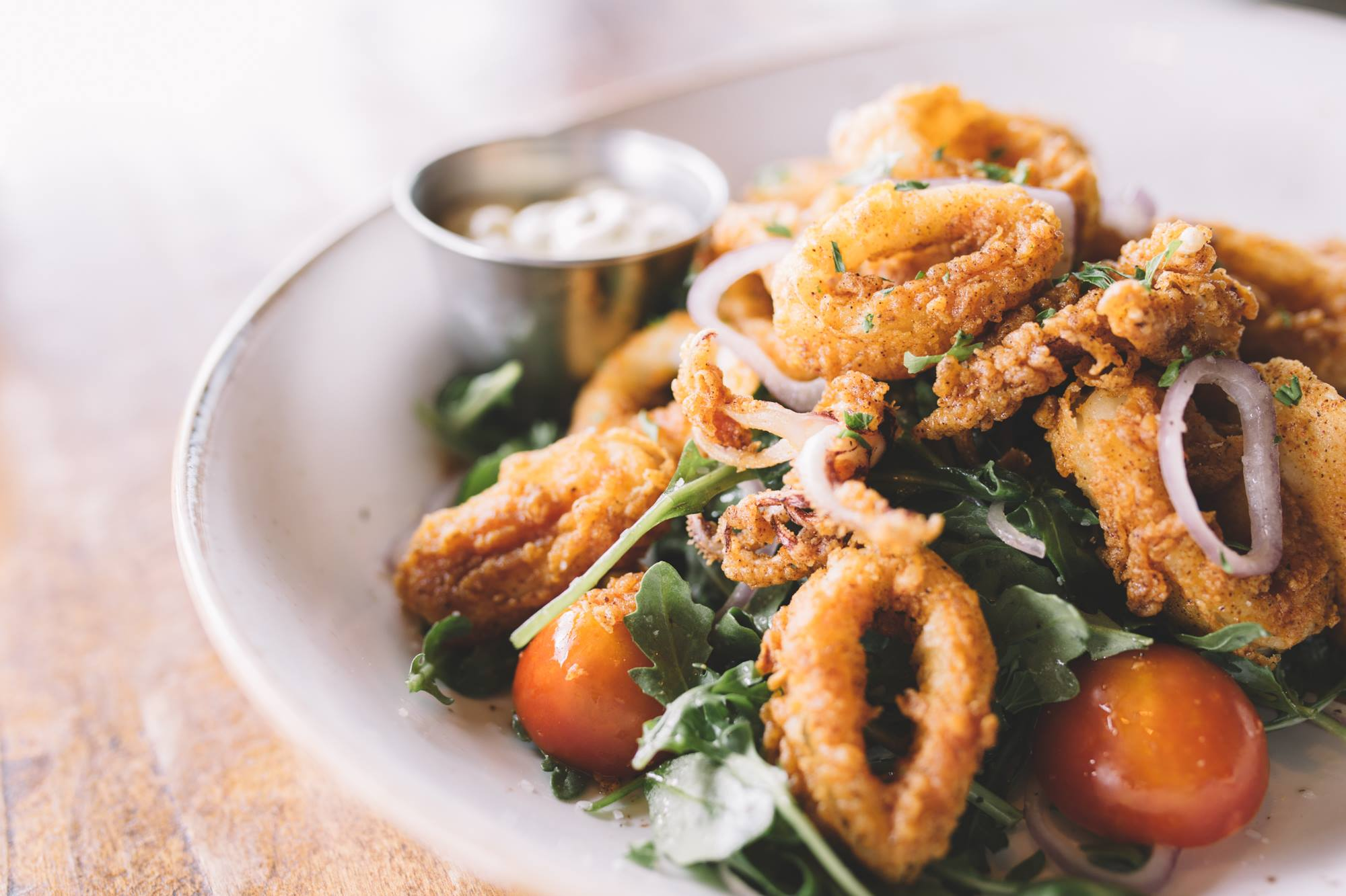 arch city weekend special calamari salad